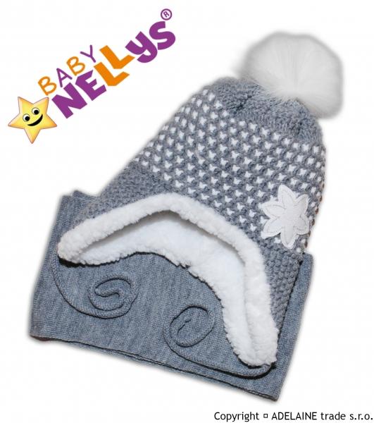BABY NELLYS Zimní čepička s kožíškem a šálou Lili- šedá
