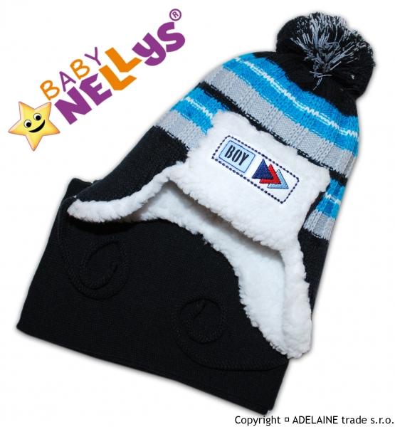 BABY NELLYS Zimní čepička s kožíškem a šálou Maty - tm.modrá