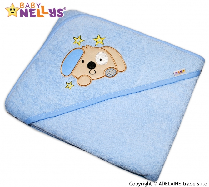 Termoosuška s kapucí Baby Nellys® PEJSEK - sv. modrá