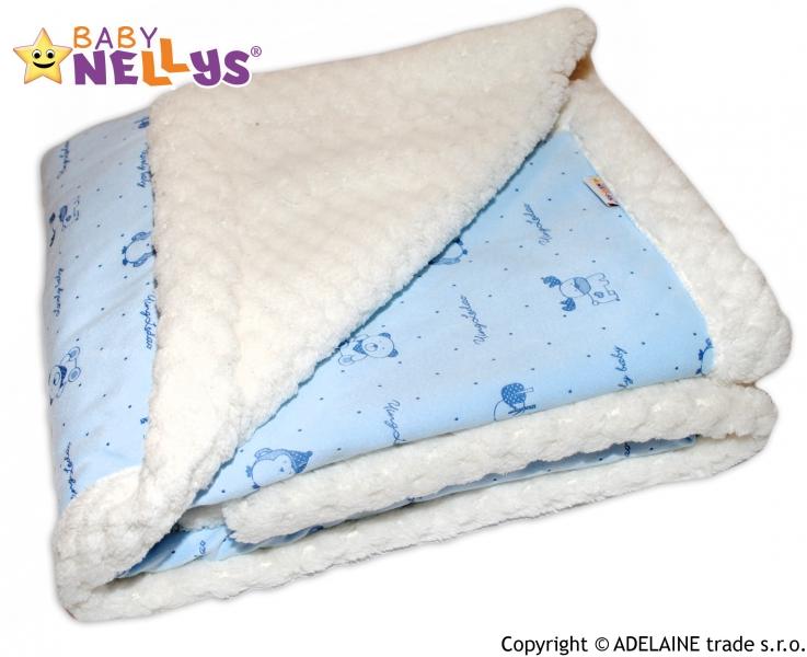 Beránková dečka Baby Nellys ® - modrá/smetanová