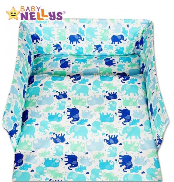 Mantinel s povlečením 135x100 - Modři sloni
