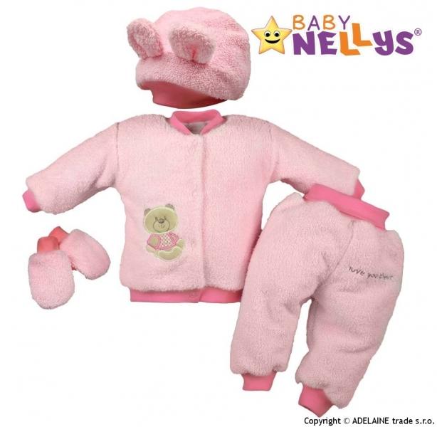 Chlupáčkový komplet Sweet Bear Baby Nellys ® - sv. růžový, Velikost: 86 (12-18m)