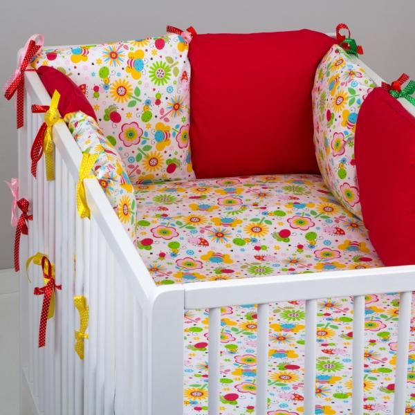 Mantinel Baby Nellys ® polštářkový s povlečením vzor č. 277118 - 8D - 6ks polštářků cca 40x40 cm + povlečení 2D 135x100cm, na postel 140x70cm