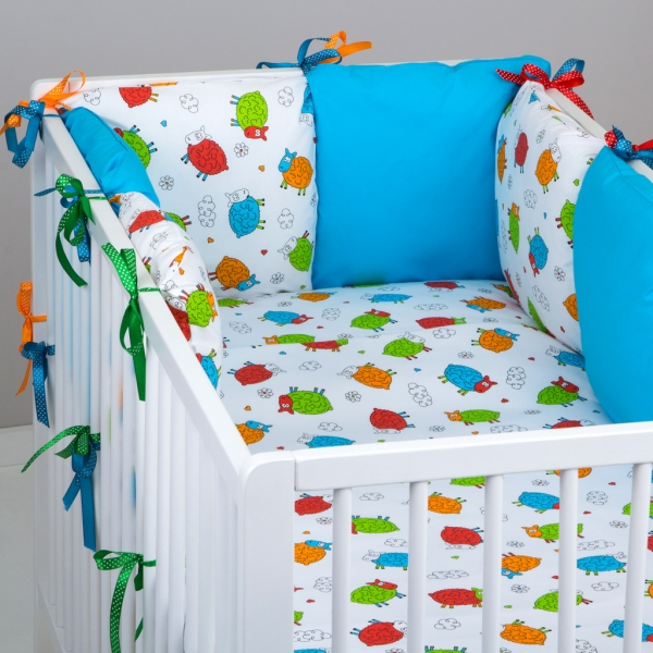 Mantinel Baby Nellys ® - polštářkový s povlečením vzor č. 278106 - 8D - 6ks polštářků cca 40x40 cm + povlečení 2D 135x100cm, na postel 140x70cm