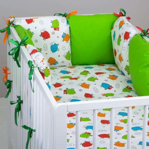 Mantinel Baby Nellys ® - polštářkový s povlečením vzor č. 278108 - 8D - 6ks polštářků cca 40x40 cm + povlečení 2D 135x100cm, na postel 140x70cm