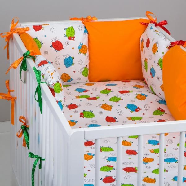 Mantinel Baby Nellys ® - polštářkový s povlečením vzor č. 278114 - 8D - 6ks polštářků cca 40x40 cm + povlečení 2D 135x100cm, na postel 140x70cm