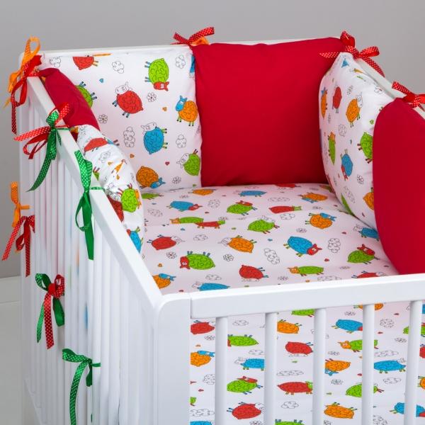 Mantinel Baby Nellys ® - polštářkový s povlečením vzor č. 278118 - 8D - 6ks polštářků cca 40x40 cm + povlečení 2D 135x100cm, na postel 140x70cm