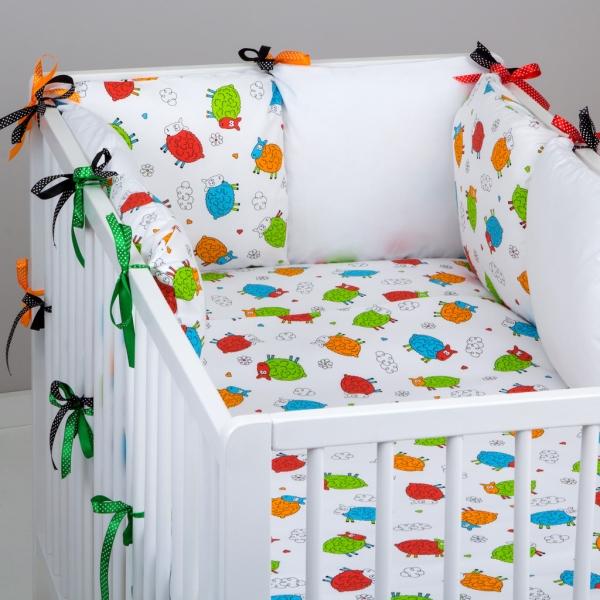 Mantinel Baby Nellys ® - polštářkový s povlečením vzor č. 278199 - 8D - 6ks polštářků cca 40x40 cm + povlečení 2D 135x100cm, na postel 140x70cm
