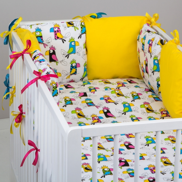 Mantinel Baby Nellys ® - polštářkový s povlečením vzor č. 287101 - 8D - 6ks polštářků cca 40x40 cm + povlečení 2D 135x100cm, na postel 140x70cm