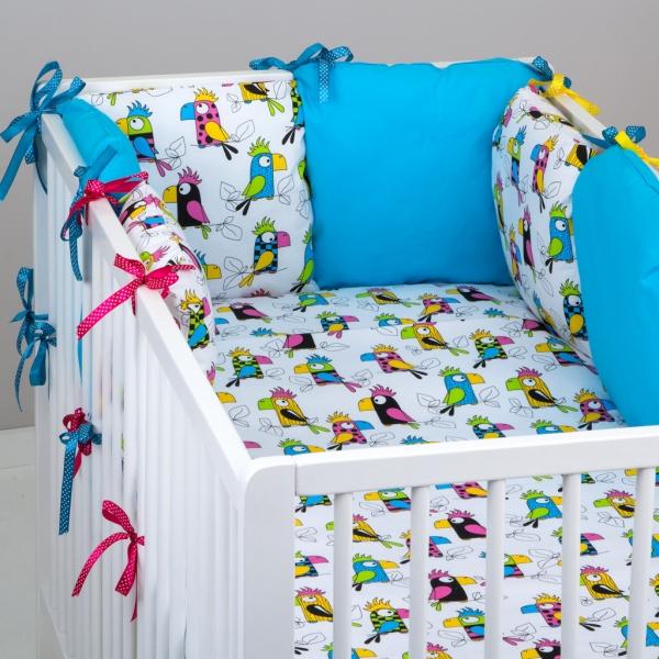 Mantinel Baby Nellys ® - polštářkový s povlečením vzor č. 287106 - 8D - 6ks polštářků cca 40x40 cm + povlečení 2D 135x100cm, na postel 140x70