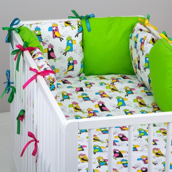 Mantinel Baby Nellys ® - polštářkový s povlečením vzor č. 287108 - 8D - 6ks polštářků cca 40x40 cm + povlečení 2D 135x100cm, na postel 140x70cm
