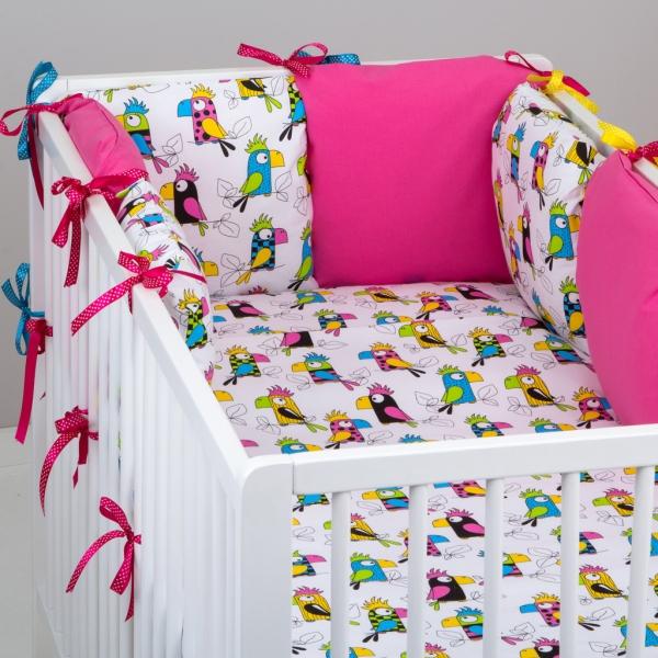Mantinel Nellys ® - polštářkový s povlečením vzor č. 287115 - 8D - 6ks polštářků cca 40x40 cm + povlečení 2D 135x100cm, na postel 140x70cm