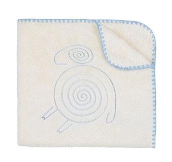 Deka/dečka Ovečka FLUFFY - smetanová/modré obšití - barva: Ovečka FLUFFY - smetanová/modré obšití, rozměr: 75x90cm