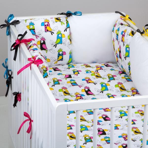 Mantinel Baby Nellys ® - polštářkový s povlečením vzor č. 287199 - 8D - 6ks polštářků cca 40x40 cm + povlečení 2D 135x100cm, na postel 140x70cm