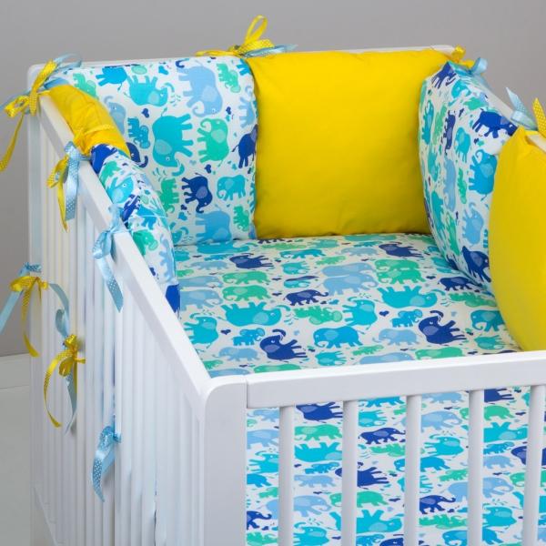 Mantinel Baby Nellys ® - polštářkový s povlečením vzor č. 340101 - 8D - 6ks polštářků cca 40x40 cm + povlečení 2D 135x100cm, na postel 140x70cm