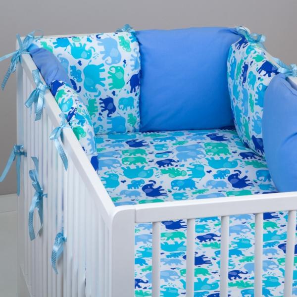 Mantinel Baby Nellys ® - polštářkový s povlečením vzor č. 340104 - 8D - 6ks polštářků cca 40x40 cm + povlečení 2D 135x100cm, na postel 140x70cm