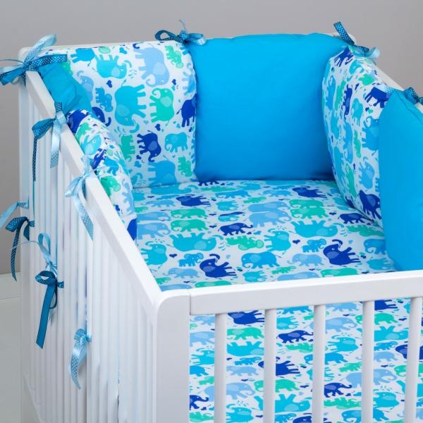 Mantinel Baby Nellys ® - polštářkový s povlečením vzor č. 340106 - 8D - 6ks polštářků cca 40x40 cm + povlečení 2D 135x100cm, na postel 140x70cm