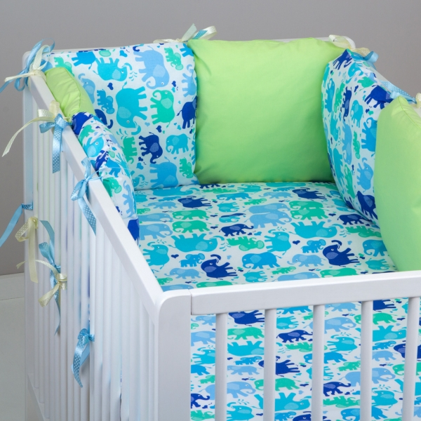Mantinel Baby Nellys ® - polštářkový s povlečením vzor č. 340107 - 8D - 6ks polštářků cca 40x40 cm + povlečení 2D 135x100cm, na postel 140x70cm