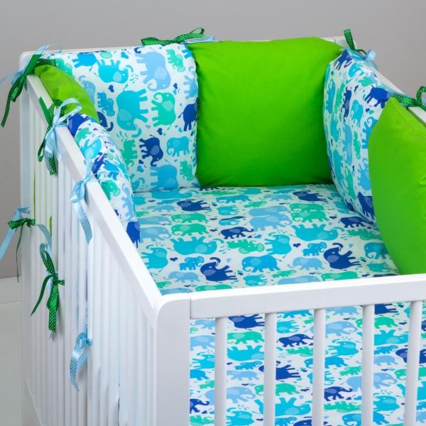 Mantinel Baby Nellys ® - polštářkový s povlečením vzor č. 340108 - 8D - 6ks polštářků cca 40x40 cm + povlečení 2D 135x100cm, na postel 140x70cm
