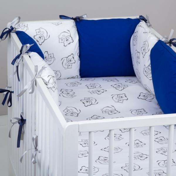 Mantinel Baby Nellys ® - polštářkový s povlečením vzor č. 345116 - 8D - 6ks polštářků cca 40x40 cm + povlečení 2D 135x100cm, na postel 140x70cm
