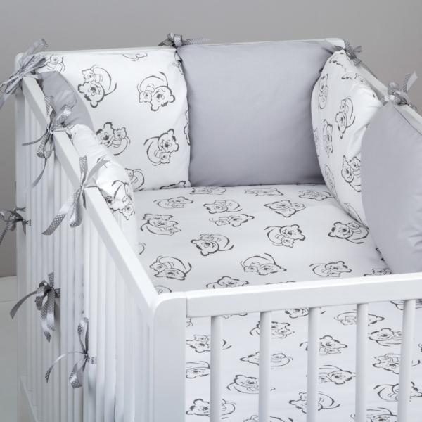 Mantinel Baby Nellys ® - polštářkový s povlečením vzor č. 345117 - 8D - 6ks polštářků cca 40x40 cm + povlečení 2D 135x100cm, na postel 140x70cm