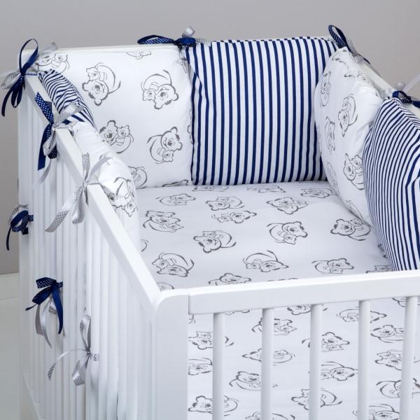 Mantinel Baby Nellys ® - polštářkový s povlečením vzor č. 345211 - 8D - 6ks polštářků cca 40x40 cm + povlečení 2D 135x100cm, na postel 140x70cm