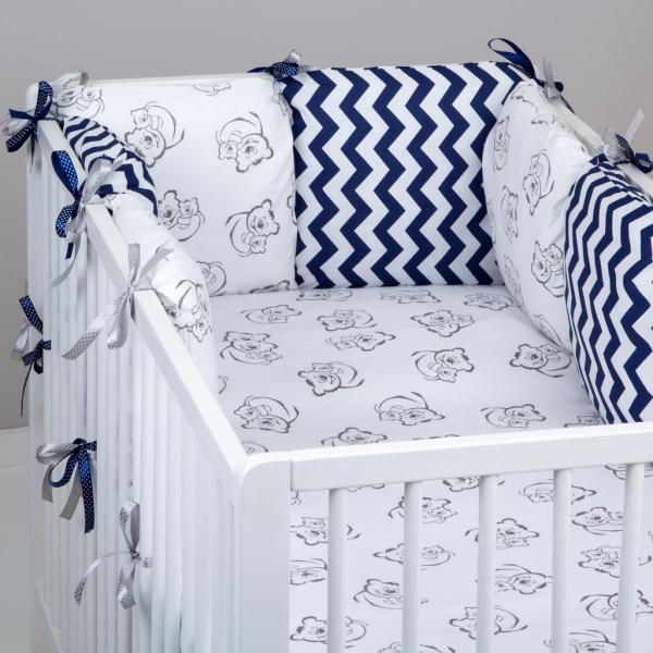 Mantinel Baby Nellys ® - polštářkový s povlečením vzor č. 345242 - 8D - 6ks polštářků cca 40x40 cm + povlečení 2D 135x100cm, na postel 140x70cm