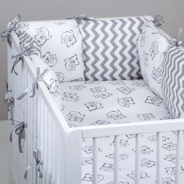 Mantinel Baby Nellys ® - polštářkový s povlečením vzor č. 345243 - 8D - 6ks polštářků cca 40x40 cm + povlečení 2D 135x100cm, na postel 140x70cm