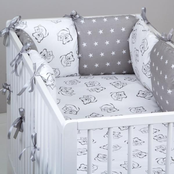 Mantinel Baby Nellys ® - polštářkový s povlečením vzor č. 345320 - 8D - 6ks polštářků cca 40x40 cm + povlečení 2D 135x100cm, na postel 140x70cm