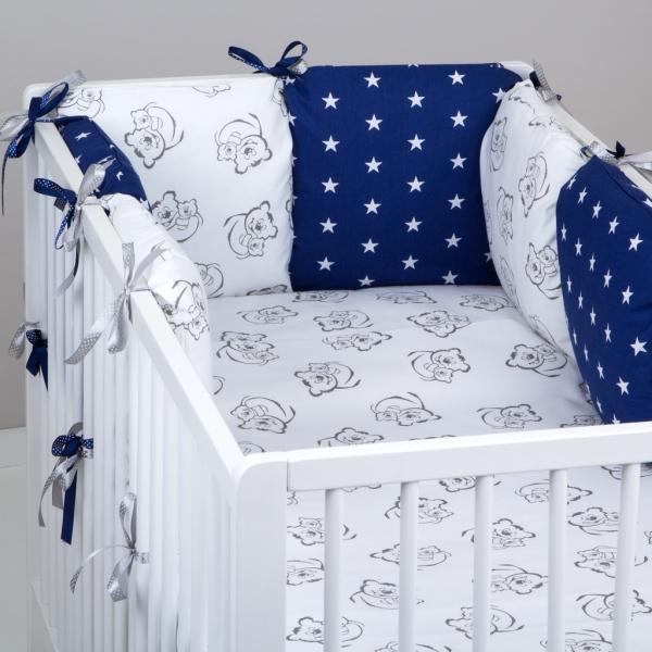 Mantinel Baby Nellys ® - polštářkový s povlečením vzor č. 345321 - 8D - 6ks polštářků cca 40x40 cm + povlečení 2D 135x100cm, na postel 140x70cm