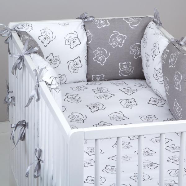 Mantinel Baby Nellys ® - polštářkový s povlečením vzor č. 345346 - 8D - 6ks polštářků cca 40x40 cm + povlečení 2D 135x100cm, na postel 140x70cm