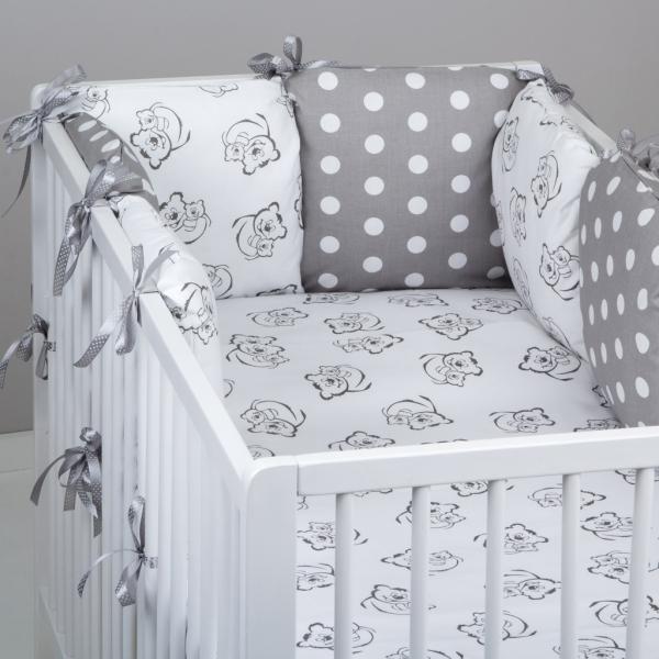 Mantinel Baby Nellys ® - polštářkový s povlečením vzor č. 345403 - 8D - 6ks polštářků cca 40x40 cm + povlečení 2D 135x100cm, na postel 140x70cm