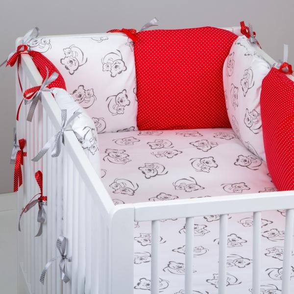 Mantinel Baby Nellys ® - polštářkový s povlečením vzor č. 345460 - 8D - 6ks polštářků cca 40x40 cm + povlečení 2D 135x100cm, na postel 140x70cm