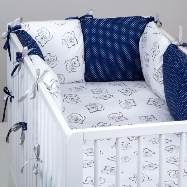 Mantinel Baby Nellys ® - polštářkový s povlečením vzor č. 345461 - 8D - 6ks polštářků cca 40x40 cm + povlečení 2D 135x100cm, na postel 140x70cm