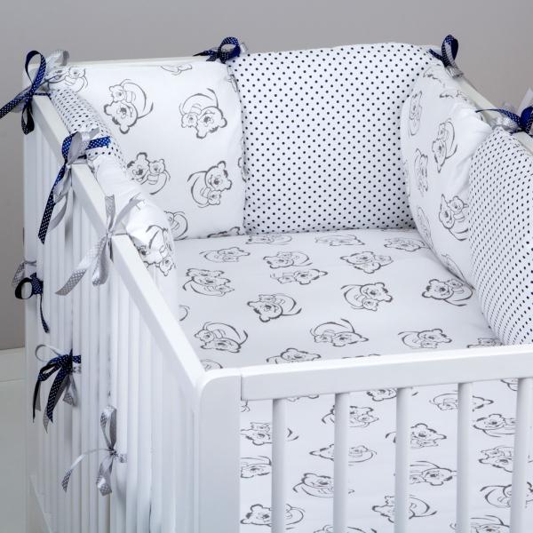 Mantinel Baby Nellys ® - polštářkový s povlečením vzor č. 345462 - 8D - 6ks polštářků cca 40x40 cm + povlečení 2D 135x100cm, na postel 140x70cm