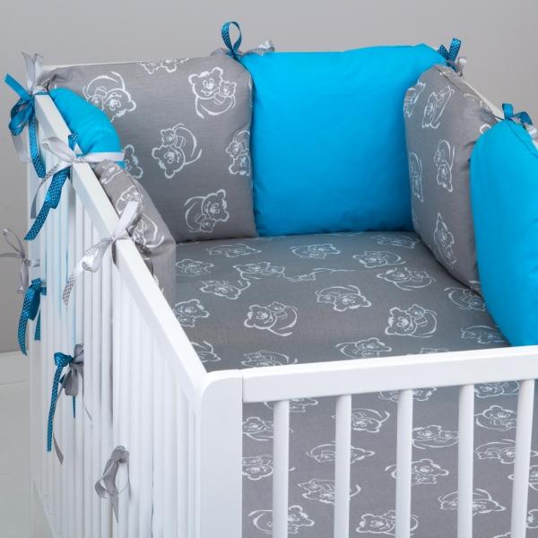Mantinel Baby Nellys ® - polštářkový s povlečením vzor č. 346106 - 8D - 6ks polštářků cca 40x40 cm + povlečení 2D 135x100cm, na postel 140x70cm