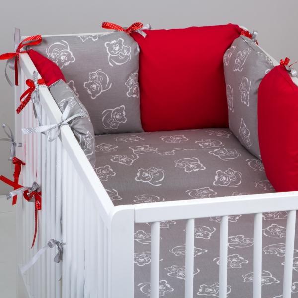 Mantinel Baby Nellys ® - polštářkový s povlečením vzor č. 346118 - 8D - 6ks polštářků cca 40x40 cm + povlečení 2D 135x100cm, na postel 140x70cm