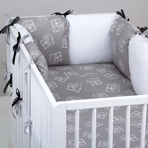 Mantinel Baby Nellys ® - polštářkový s povlečením vzor č. 346199 - 8D - 6ks polštářků cca 40x40 cm + povlečení 2D 135x100cm, na postel 140x70cm