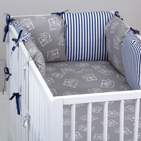Mantinel Baby Nellys ® - polštářkový s povlečením vzor č. 346211 - 8D - 6ks polštářků cca 40x40 cm + povlečení 2D 135x100cm, na postel 140x70cm