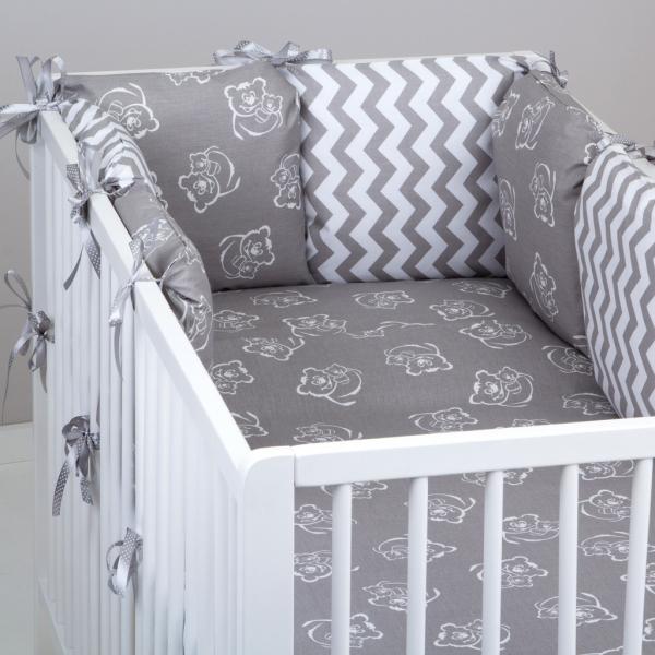 Mantinel Baby Nellys ® - polštářkový s povlečením vzor č. 346243 - 8D - 6ks polštářků cca 40x40 cm + povlečení 2D 135x100cm, na postel 140x70cm