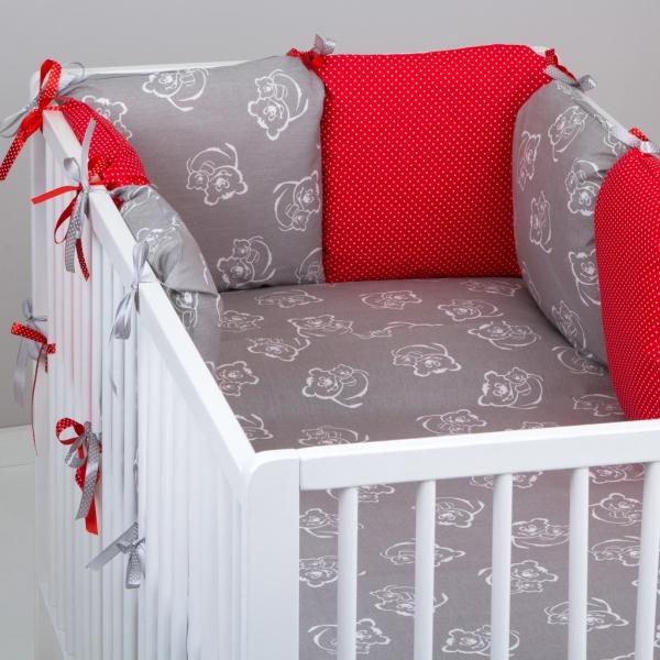 Mantinel Baby Nellys ® - polštářkový s povlečením vzor č. 346460 - 8D - 6ks polštářků cca 40x40 cm + povlečení 2D 135x100cm, na postel 140x70cm