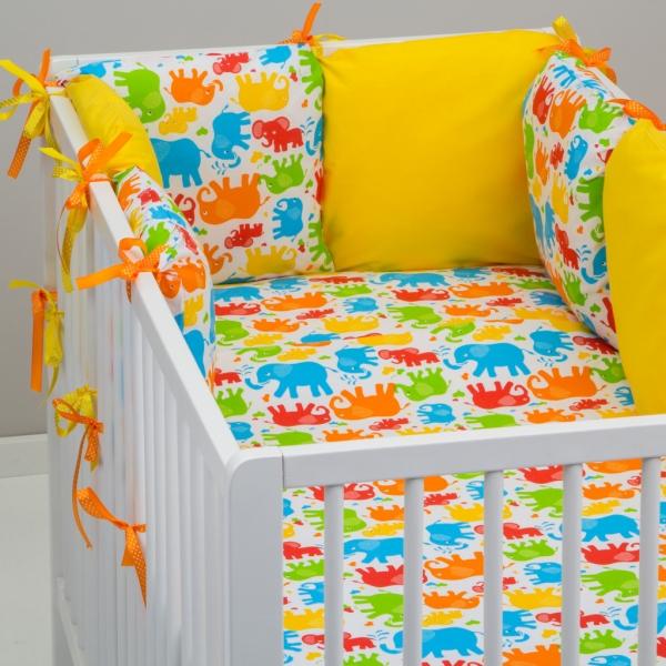 Mantinel Baby Nellys ® - polštářkový s povlečením vzor č. 241101 - 8D - 6ks polštářků cca 40x40 cm + povlečení 2D 135x100cm, na postel 140x70cm
