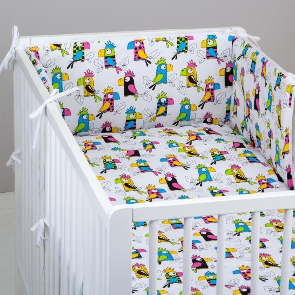 Mantinel s povlečením Baby Nellys ® vzor č. 287 (Mantinel ( rovný ) + povlečení 120x90cm. vzor Papoušcí)