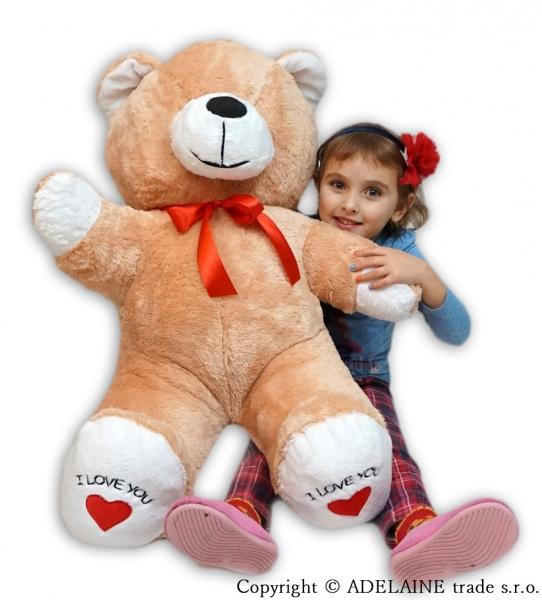 Plyšový Medvěd XXL Baby Nellys I Love - sv. hnědý, K19