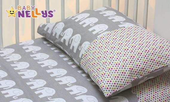 Povlečení do postýlky Baby Nellys - Sloni v šedé/barevné puntíčky