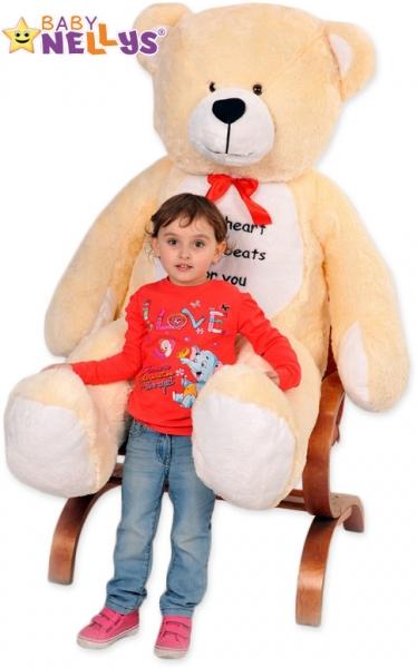 Plyšový Medvěd Baby Nellys Michal - smetana - My heard baets for you. - Plyšový Medvěd Baby Nellys - vel. 180cm, Barva: Smetana