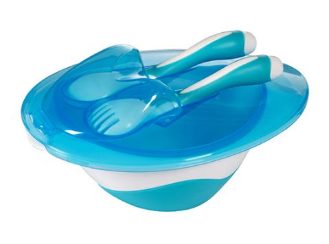 BabyOno Miska s lžičkou a vidličkou - modrá