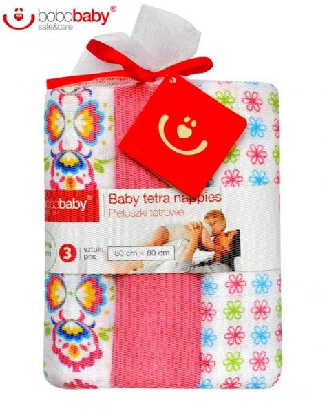 Dětské látkové tetra pleny LUX  BOBO BABY - Květinky/růžová