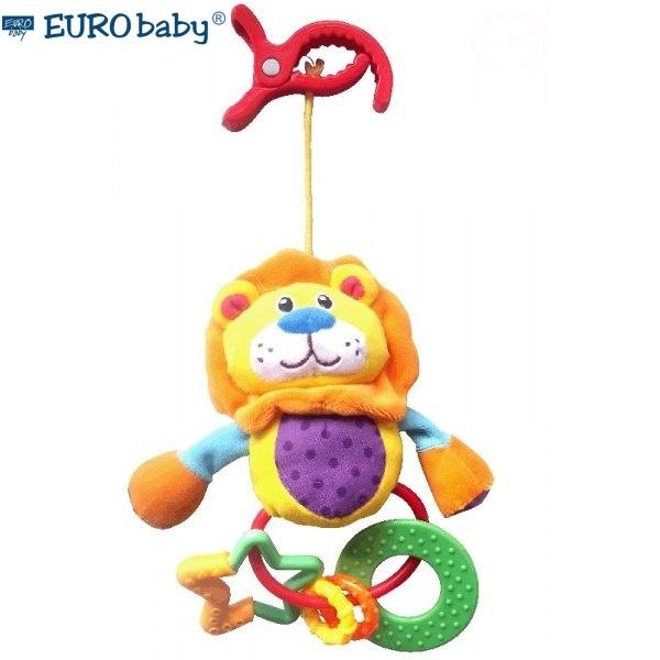 Euro Baby Plyšová hračka s chrastítkem a kousátkem - Lvíček, Ce19