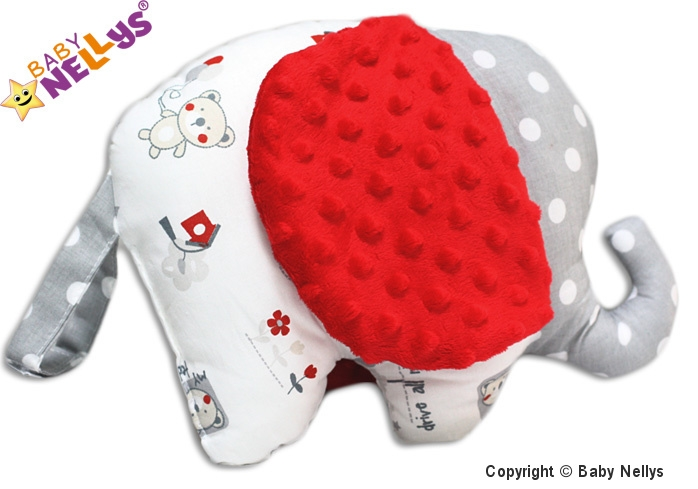 Edukační hračka SLON s minky Baby Nellys ® - Medvídek balónek/retro šedé/minky červená (Baby Nellys ® cca 30x25cm +-/2cm, Medvídek balónek/retro šedé/minky červená)